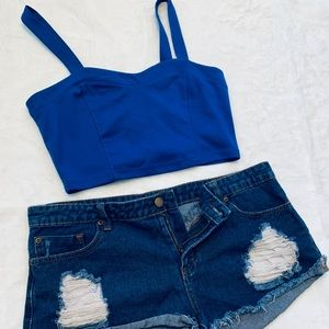 Forever 21 Blue crop top and jean shorts